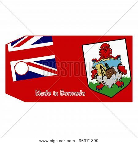 Vector Illustration Of Bermuda Flag On Price Tag With Word Made In Bermuda Isolated On White Backgro