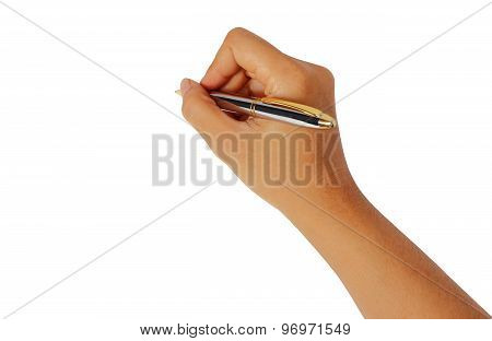 Women Hand Writing With Metallic Pen Isolated On White Clipping
