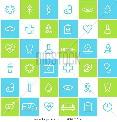 Medical and Healthcare Seamless Lined Icons Background