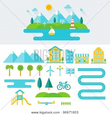 Mountain Landscape Illustration and Set of Elements. Eco-friendly Lifestyle and Sustainable Living C