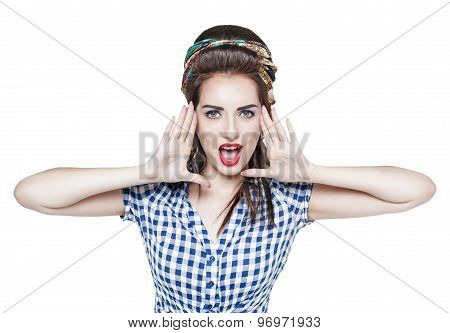 Young Beautiful Woman In Retro Pin Up Style Shouting With Her Hands
