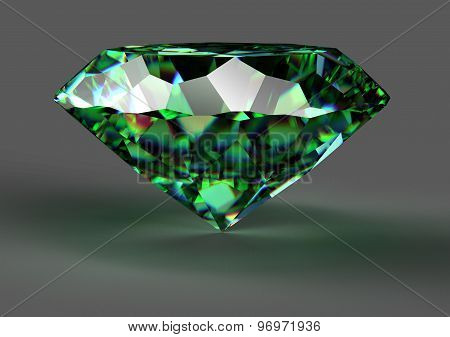 Green Diamond Isolated On White Background With Clipping Path