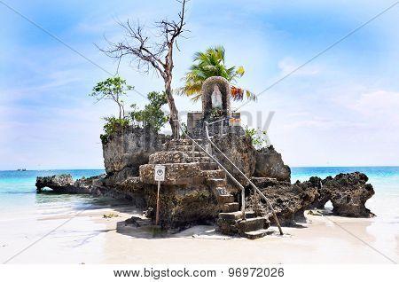 Willy's rock on island Boracay Philippines