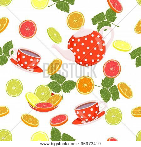 Repeating pattern with a kettle, cups, slices of citrus and leaves.
