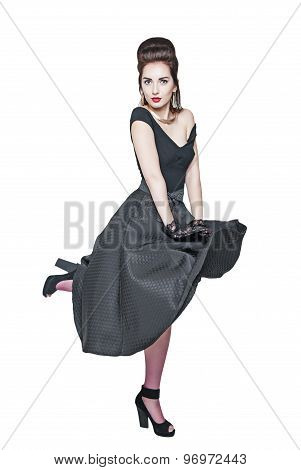 Young Beautiful Woman In Retro Pin-up Style With Fluttering Dress Isolated