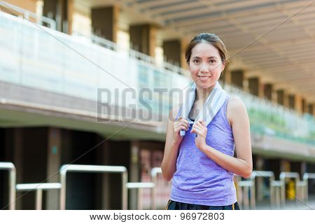Young woman in sport stadium