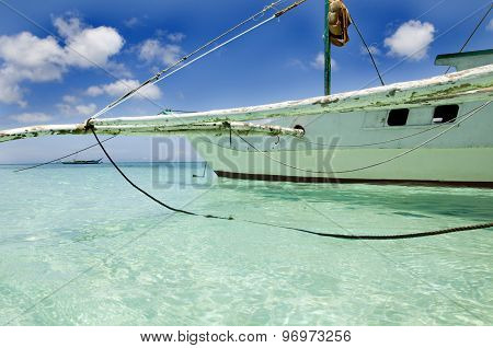 Traditional sailboat on Boracay beach in Philippines