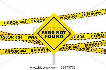 3d yellow error 404 ribbons