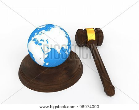 3d gavel and earth globe