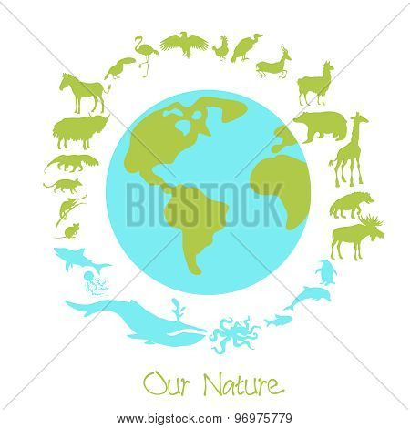 Different animal silhouettes in circle around the planet earth. Concept of eco problems and save nut