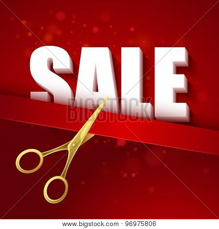Price cut Gold scissors. Vector illustration