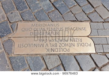 Prague Meridian Plate On Old Town Square Of Prague