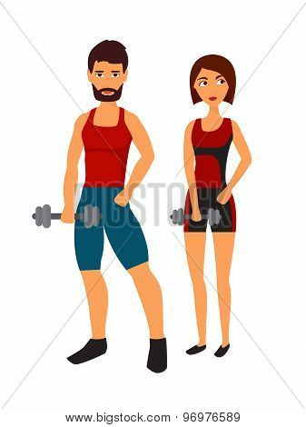 Fitness woman with personal trainer