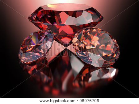 Red Diamond Isolated On White Background With Clipping Path