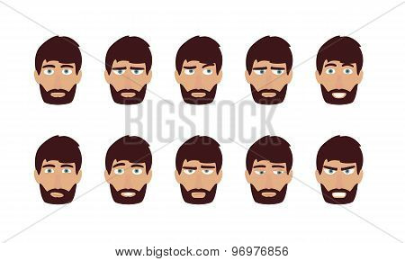 Man emotions and expressions. Flat vector user profiles avatar.