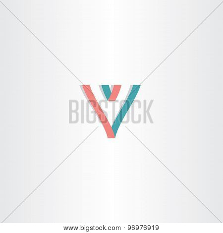 Letter V Lines Logo Template Symbol