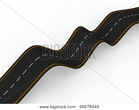 3d bumpy road with ups and downs