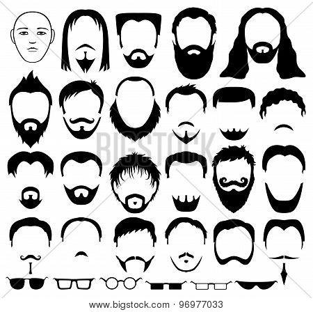 Beard, hair and glasses