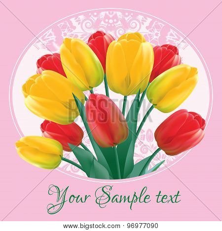 Greeting card with a bouquet of red and yellow tulips