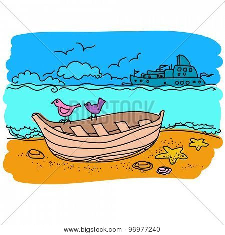 Drawing of old boat on seashore. Free hand drawing