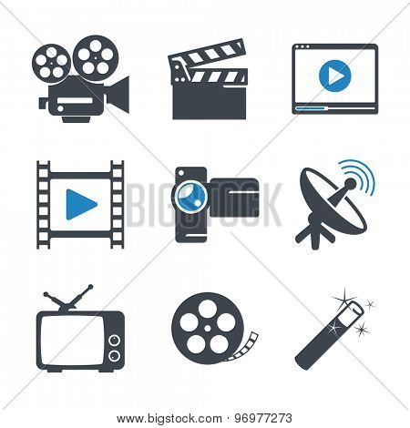 Video media icons set