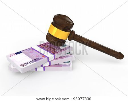 3d gavel and euro currency