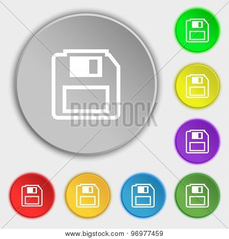 Floppy Disk Icon Sign. Symbol On Eight Flat Buttons. Vector