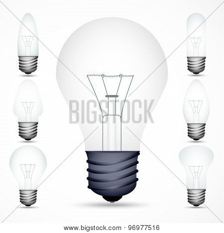 set of incandescent lamps on the gray background. vector illustration eps10