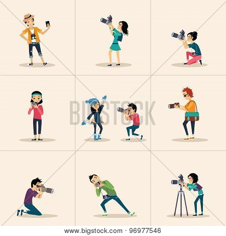 Vector creative character design  posing while photographer taking photos