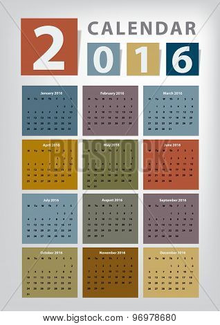 Modern Calendar 2016 Vector