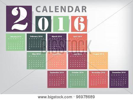 Calendar 2016 Vector Modern Colour