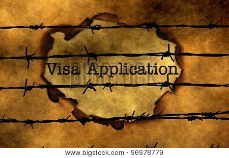 Visa Application Concept Against Barbwire