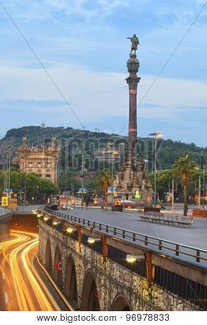 View of Mirador de Colom in Barcelona, Spain