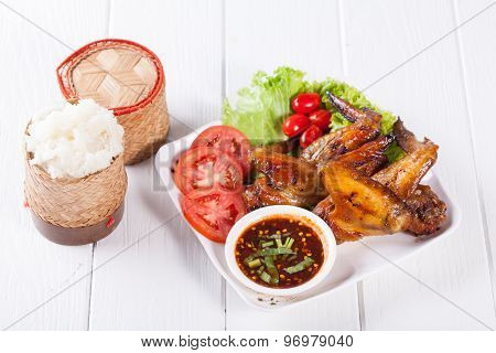 Grilled Chicken Wings with Red Spicy Sauce and Sticky Rice