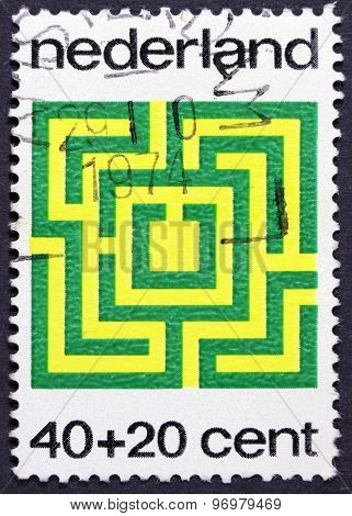 Art print on a postage stamp.