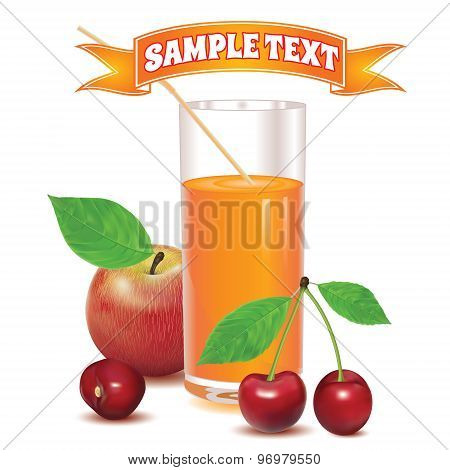 glass for juice from ripe red berries cherries and red apple with leaves