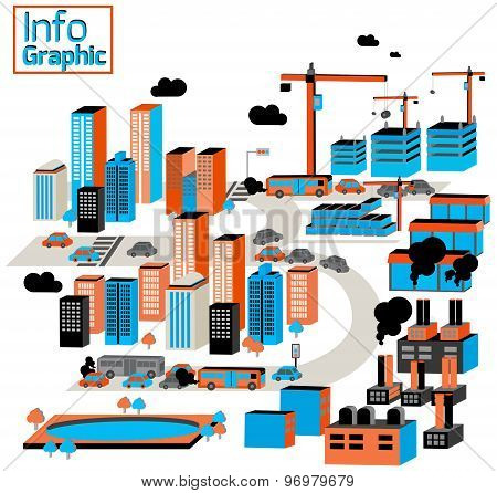 City Of Industrial And Pollution With Buildings, Factory, Construction And Traffic Transportation In