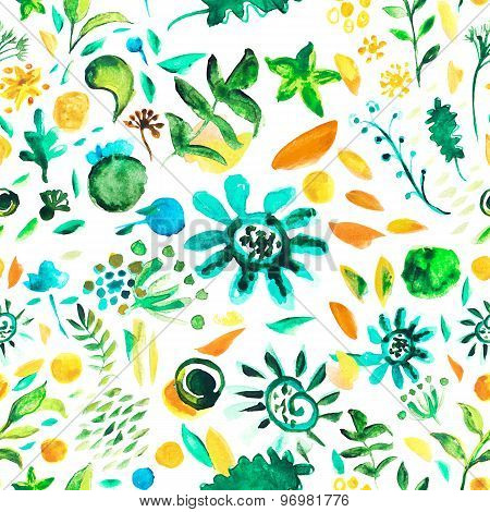 Floral Bright Colorful Decorative Watercolor Illustration