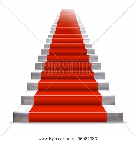 Realistic Stone Ladder With Red Carpet