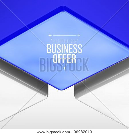 Vector Poster Design With Blue Cube
