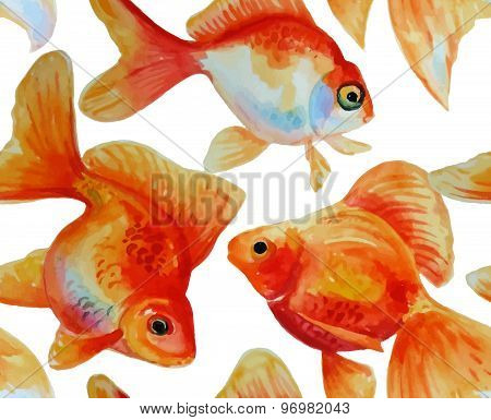Watercolor Vector Pattern With Goldfishes
