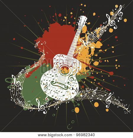 Music Poster With Guitar