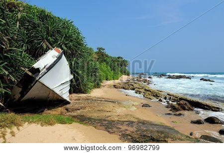 Old Yacht Stranded On A Beach