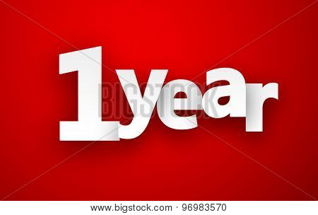 1 year paper sign over red. Vector illustration.