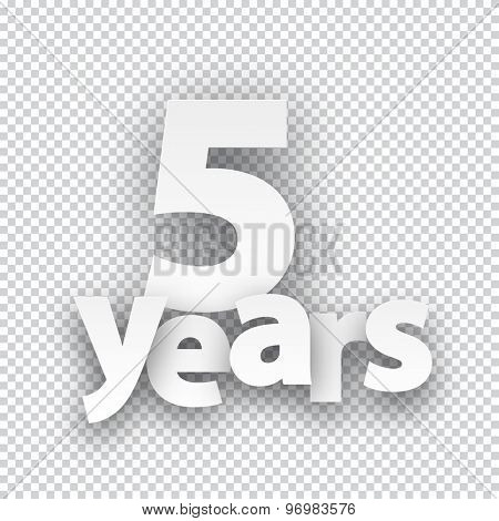 Five years paper sign over cells. Vector illustration.