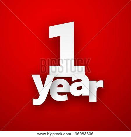 one year paper sign over red. Vector illustration.