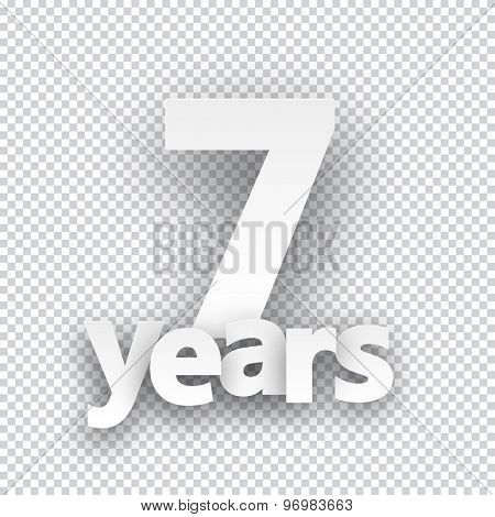Seven years paper sign over cells. Vector illustration.