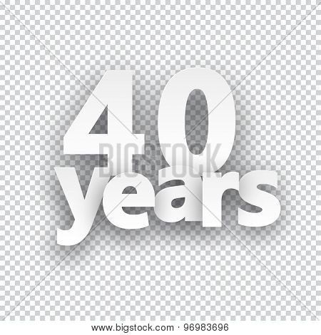 Forty years paper sign over cells. Vector illustration.