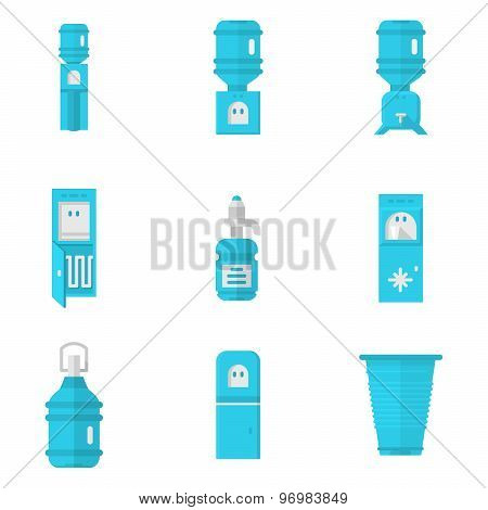 Blue water coolers flat vector icons set