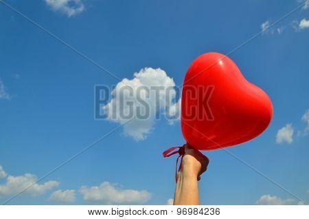 Heart Balloon On Blue Sky